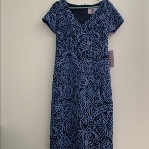 NWT J S Collections Blue/Navy Cocktail Dress